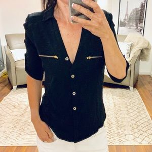 Guess Black V Neck With Gold Accent Zippers Small